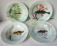 Antique Set 4 Haviland & Co Limoges Porcelain Hand Painted Fish Plates Nautical