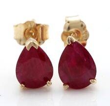2.51 Carat Natural African Ruby in 14K Solid Yellow Gold Stud Earrings