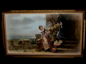 RARE ANTIQUE ca. 1880's RARE PASTEL PAINTING BY FAMOUS ENGLISH ARTIST HARRIS