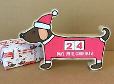 Dachshund Sausage Dog Countdown To Christmas Advent Calendar Wood Non Chocolate