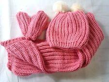 Girls 12 - 24 months Hat Double Scarf Gloves Pompon Kit Set Crochet Pink B331-7