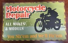Vintage Antique Style Metal Sign Motorcycle Repairs 10x16