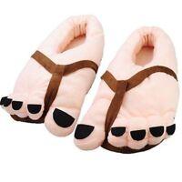 Soft Warm Big Toes Slipper Funny Winter Plush Big Feet Anti-Slip Shoes Champagne