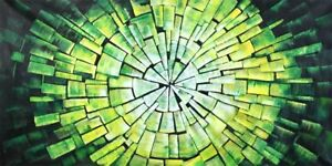 Mosaic Abstract Oil Painting on a Rolled Linen Canvas 100cm x 50cm