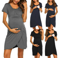 Women Pregnancy Maternity Nursing Summer Casual Tunic Solid Short Sleeve Dress E
