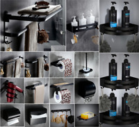 Wall Mount Space aluminum black Bathroom Accessories Shelf Holder Storage set
