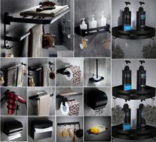 Espacio de montaje en pared Soporte de Estante de aluminio negro accesorios de baño conjunto de almacenamiento de información