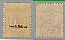 COLONIE ERITREA 1903 SEGNATASSE D'ITALIA SOPRASTAMPATI L. 50 n.12 MLH* FIRME