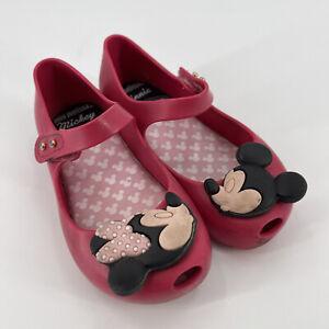 Disney Mini Melissa Girls Mary Jane Shoes Sz 10 Mickey Minnie Mouse Kissing Red