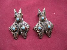 Estate Fashion Jewelry Western Style Turquoise Silver tone Clip On Earrings