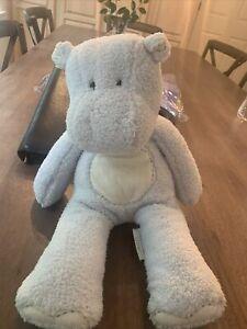 "POTTERY BARN KIDS Light Blue Ivory Stuffed Plush HIPPO Hippopotamus 15"" PBK"