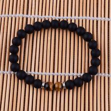 Fashion Men Bracelet Black Matte Stone Beaded Charm Tiger eye Elasticity Bangle