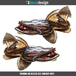 Flathead decal x 2  HUGE 33cm Wide vinyl boat tinnie graphics fishing stickers
