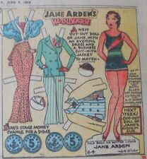 Jane Arden Sunday with Large Uncut Paper Doll from 6/4/1933 Full Size Page!