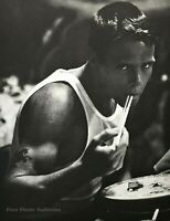 1982 Vintage BRUCE WEBER Young Man Eating w Chopsticks Waikiki Photo Art 16X20