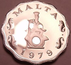 Rare Proof Malta 1979 5 Mils~Earthen Lampstand~Only 6,577 Minted