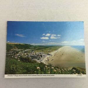 Pendine Village and its Beach Which Extends East Wales Posted Postcard