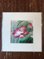 China Embroidery Art Inc Handmade Silk Royal Pink Flower Matted Painting