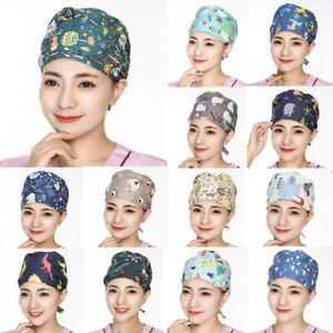 New Floral Print Caps Scrub Bouffant Hat Cap Turban Work Accessories Head Wear