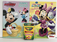 New 3 Pc Minnie Mouse Jumbo & Big Fun Coloring Activity Books + Crayons
