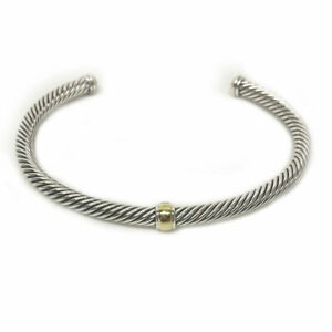 DAVID YURMAN Cable Classics Center Station Bracelet with 18K Gold 4mm $375 NEW