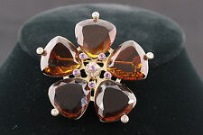 COSTUME VINTAGE BROOCH/PENDANT W/ BROWN & PURPLE FACETED CRYSTALS FASHION 3620