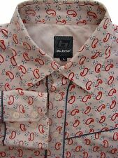 BLEND OF AMERICA Shirt Mens 16.5 L Cream - Red Tear Drops