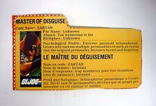 GI JOE ZARTAN FILE CARD Vintage Action Figure FRENCH / GOOD SHAPE 1984