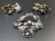 Signed Made In Austria Vintage Set Brooch Pin & Screw Back Earrings Rhinestones
