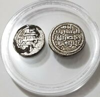 ALMORAVIDE QUIRATE + 1/2 QUIRAT Silver Coin LOT ALI IBN YUSUF 0.96g &0.48g RARE