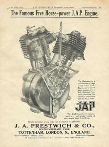 THE FAMOUS FIVE HORSE-POWER J.A.P ENGINE METAL TIN SIGN POSTER WALL PLAQUE