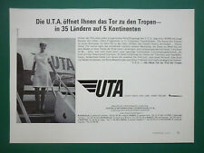 2/1971 PUB UTA AIRLINE TRANSPORT AERIEN DC-8 62 AIRLINER HOTESSE ORIGINAL AD