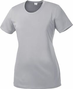 Womens SPORT TEK, Ladies Dry Fit T-shirt Yoga Workout Running S-2XL 3X 4X LST350