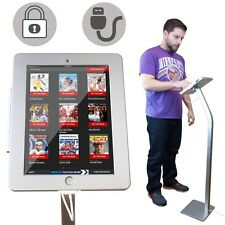 iPad Anti-Theft Floor Stand Enclosure Holder Case w/ Charging Cable Lock Kiosk