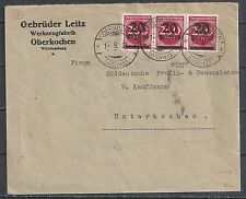 Reich 1923 both sides franked INFLAcover Oberkochen to Unterkochen