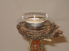 Wine Bottle Topper Bird nest  w/a Glass Tealight Candle Holder (made of metal)