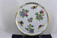 """HEREND QUEEN VICTORIA 10"""" ROUND TRAY GREEN AND GOLD TRIM - MINT"""