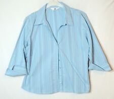 BLUE STRIPED LADIES CASUAL TOP BLOUSE SHIRT SIZE 18 NEW LOOK V-NECK