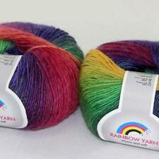Sale New Soft Cashmere Wool Rainbow Wrap Shawl DIY Hand Knit Yarn 2ballsx50gr 12
