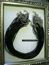 """50 Leather Necklace cords  2mm black leather 19"""" adjustable lobster clasps M146"""