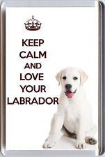 Restez Calme et Aimez Votre Labrador Image de la crème Labrador Chiot Aimant frigo