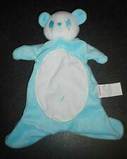 Doudou Plat Panda Blanc Bleu Turquoise Croix Brioche Kimbaloo La Halle TBE