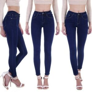 Damen Röhrenjeans High Waist Jeans Skinny Hose Hochschnitt Röhre Stretchhose D86