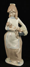 """Vintage Porcelain Figurine """"Girl Holding Puppies"""" by Nadal? Spain Collectible"""