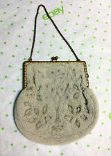 Antique Vintage MICRO BEADED PURSE HANDBAG Tiny Glass Beads Gold tone chain