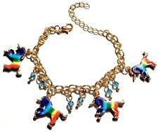 Arcoiris Unicornio Pulsera Cadena de Oro Azul con Cuentas Infantil Mujeres Niñas