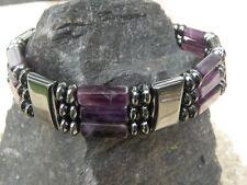 Men's Women's Magnetic Hematite Purple Amethyst NECKLACE BRACELET ANKLET 3 Row