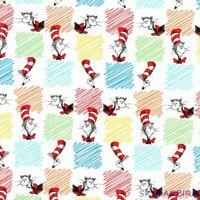 """FQ Dr. Seuss Cat in the Hat Checkerboard Multi Color Ctn Fabric 18""""Lx21""""W-BTFQ"""