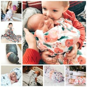 Newborn Baby Infant Floral Swaddle Sleeping Blanket Wrap Hat Set Photoprop