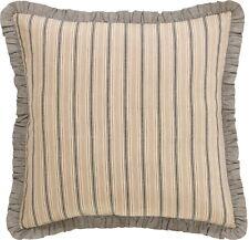 26x26 Ruffled Euro Sham Cream Gray Stripe Country Floor Pillow Cover Sawyer Mill